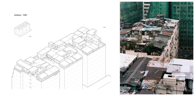 大廈五位於大角咀,是一座多用途建築物。大角咀在九龍半島油尖旺區,原來是船廠和重工業地段,八零年代大部分工廠遷走後,這區跟深水埗和觀塘一樣,成了市建局的重建目標,預計將有很大的轉變。 這8 + 3 層的大廈共分三座,相連的天台面積達1 , 1 4 5 平方米。六道沒有看更看守的樓梯均可通往天台。自1 9 6 2 年起,這裡的天台屋漸漸增加,至今超過3 5 間,構成複雜的空間布局。這些自建的天台屋高一至三層不等,以迷宮般的走廊和樓梯連接。 天台屋之間窄長的通道, 往往被天台戶當作家園的延伸,所展示的日常生活情景,教人印象深刻。項目記錄了11戶的狀況。